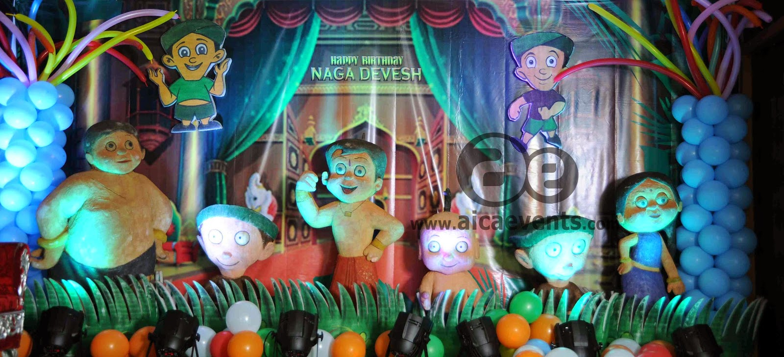 Aicaevents chhota bheem theme decorations for 1st birthday stage decoration