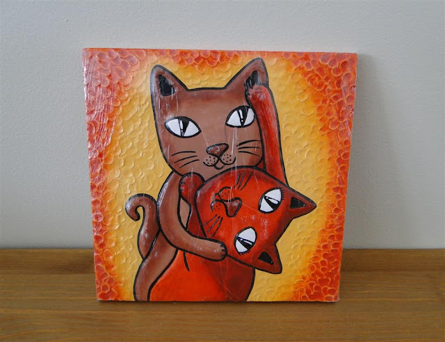 Dancing Cats Ceramic Picture Handmade in Ukraine