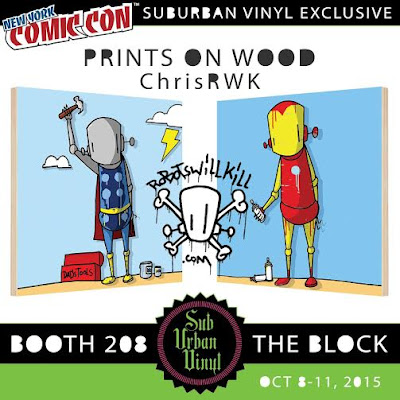 New York Comic Con 2015 Exclusive Marvel Comics Iron Man & Thor Prints on Wood by ChrisRWK & SubUrban Vinyl