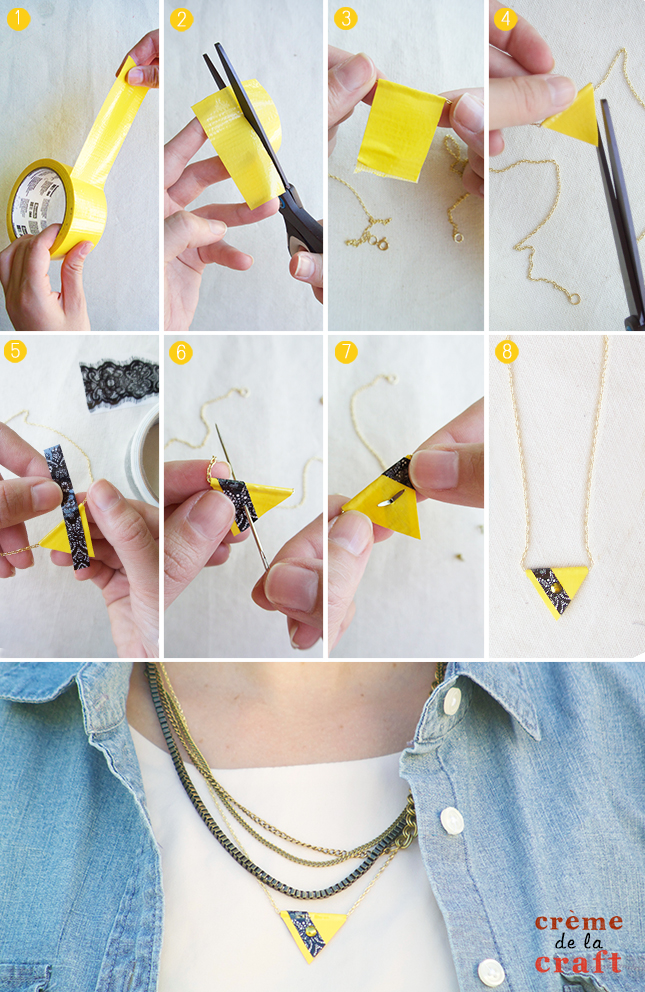easy l mich diy necklace in a tape duct