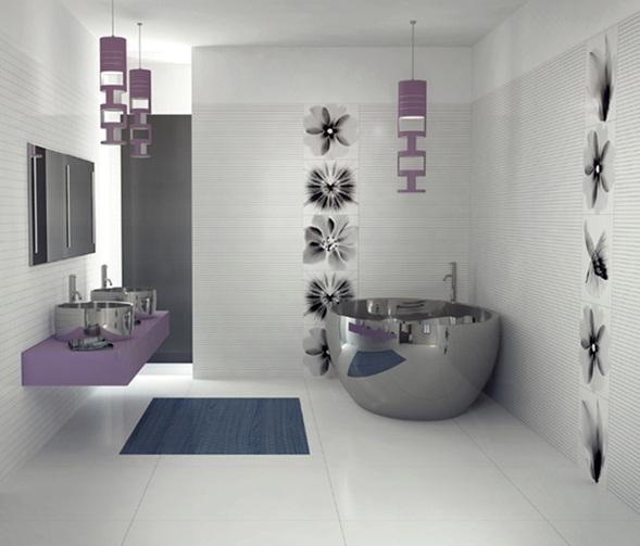 diseo cuarto de bao moderno con acentos prpuras - Diseo De Cuartos De Bao