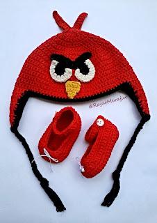 Topi Rajut Angry Bird, crochet angry bird hat, jual topi rajut, bikin topi rajut, topi rajutan, topi bayi