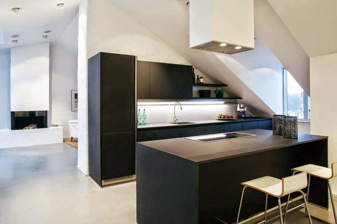 Minimalista cocina negra abierta y muy luminosa cocinas for Cocinas blancas con isla