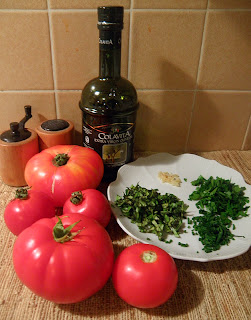 Garden Tomatoes and Herbs with Olive Oil, Garlic, Salt, and Pepper