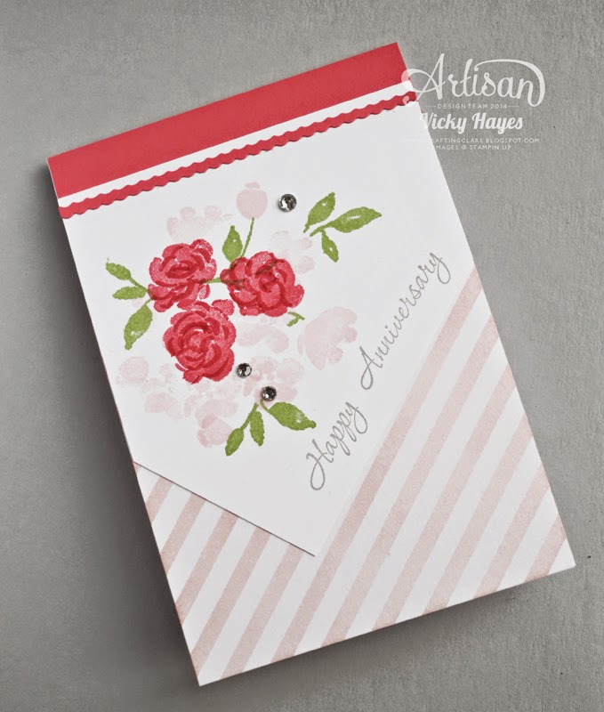 Handmade anniversary card by UK Stampin' Up demonstrator Vicky Hayes