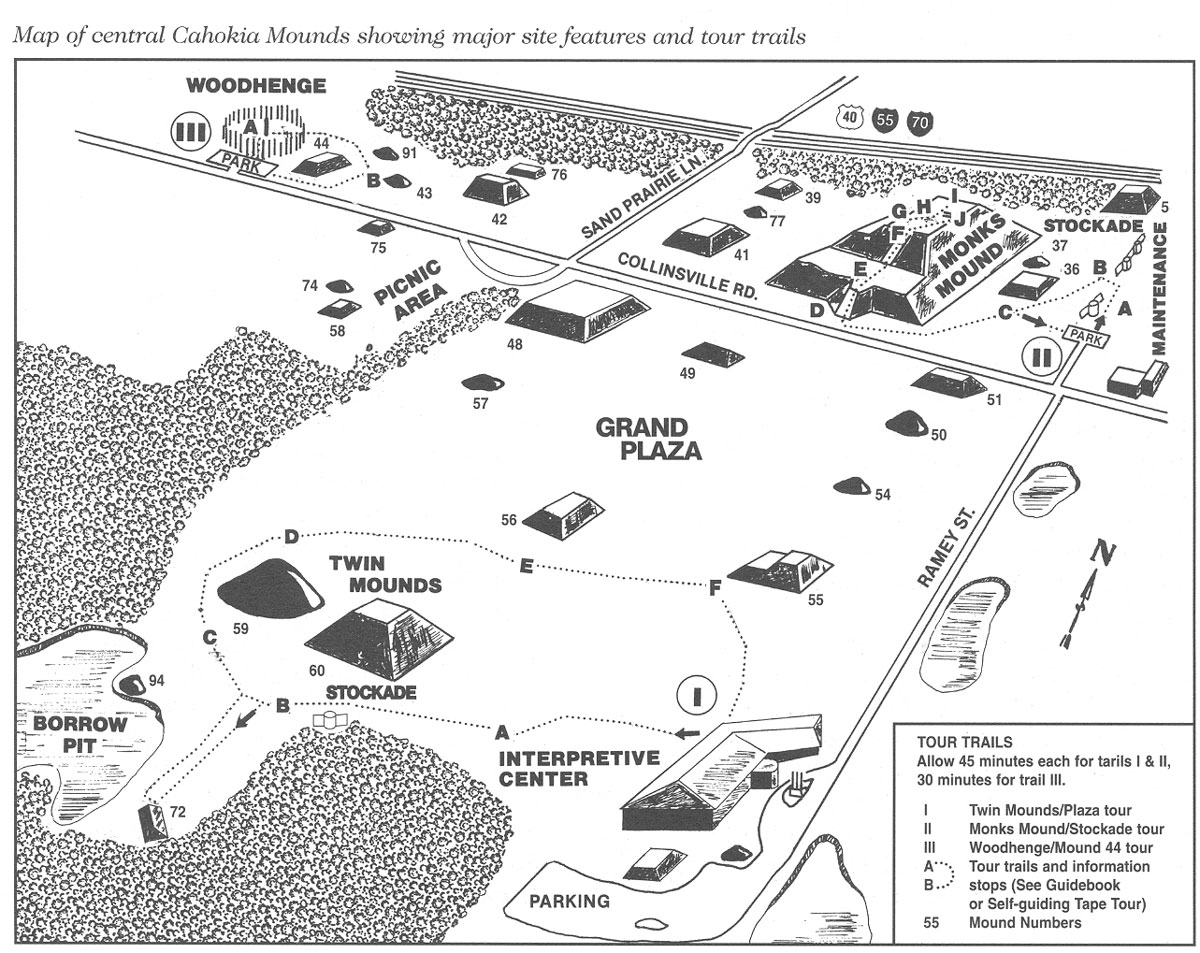 an archaeological site map of cahokia