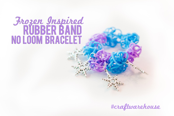Frozen Inspired Rubber Band Bracelet @craftsavvy @createoften #craftwarehouse #loombands #rubberbandbracelets #noloom
