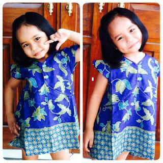 Dress Batik biru anak wanita