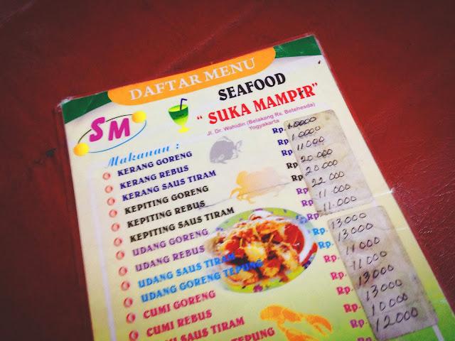 Menu at Seafood Suka Mampir Yogyakarta