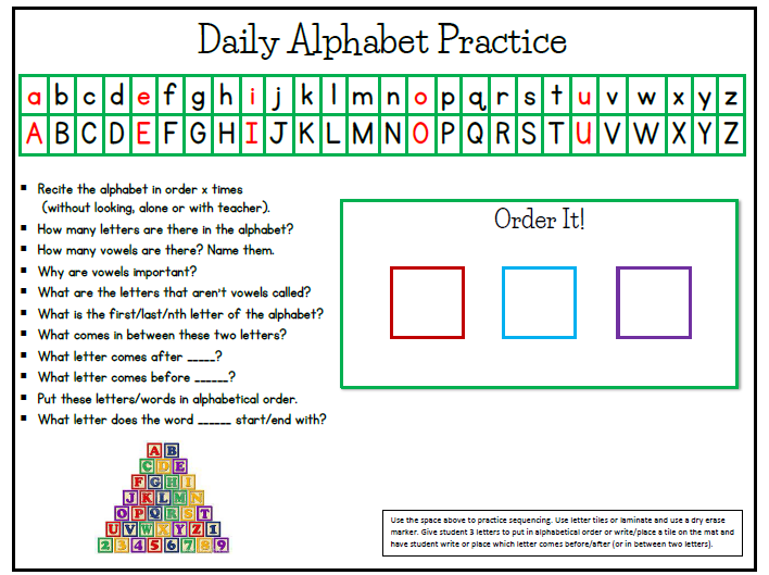 Daily Alphabet Practice Notebook Page &  Alphabet Strip
