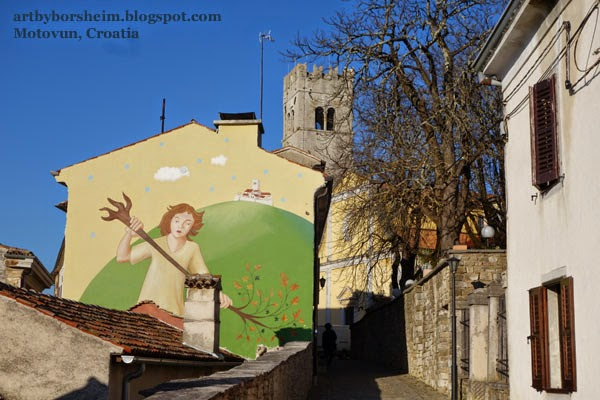 Tree Mural in Motovun Istria Croatia