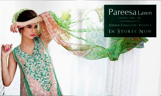 Pareesa Lawn Summer Dresses 2014
