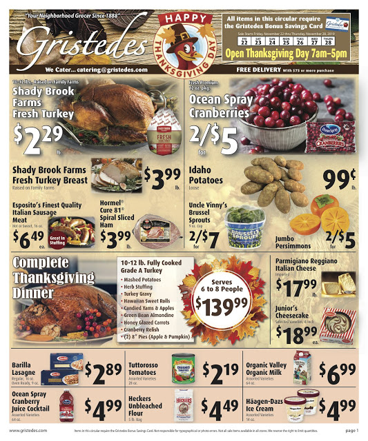 CHECK OUT ROOSEVELT ISLAND GRISTEDES Products, Sales & Specials For November 22 - November 28