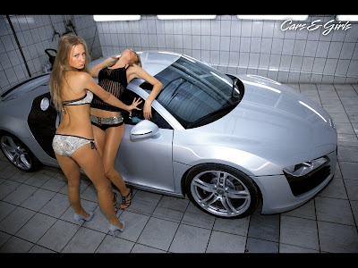 audi r8 and sexy hot girls wallpaper
