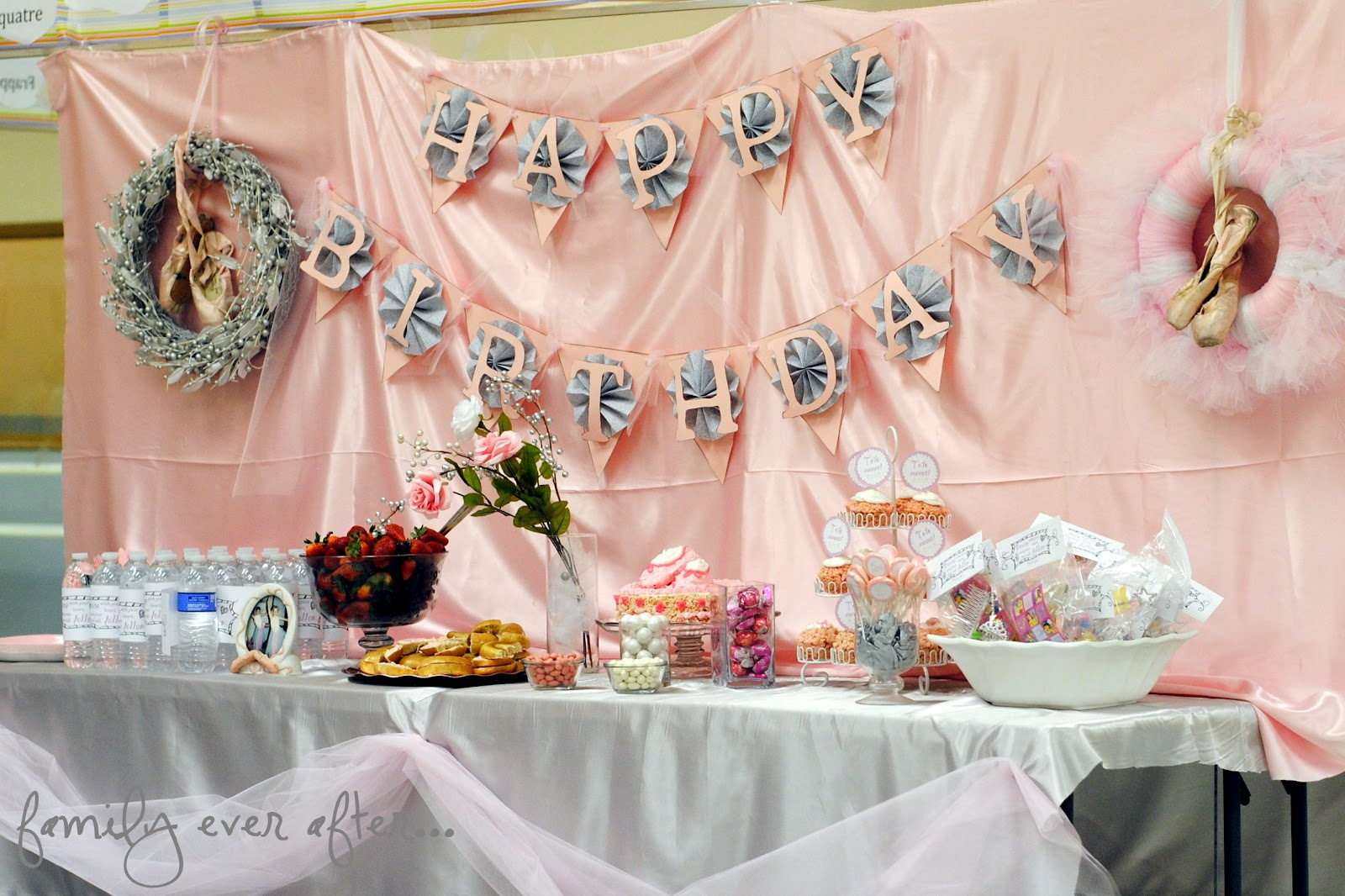 Family ever after ballet birthday party banner for Ballerina party decoration