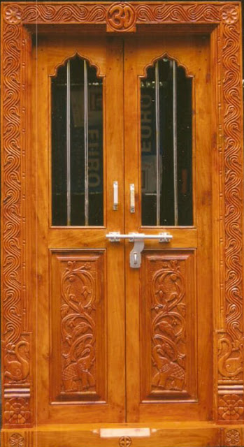 Kerala style carpenter works and designs pooja room for Latest design for main door