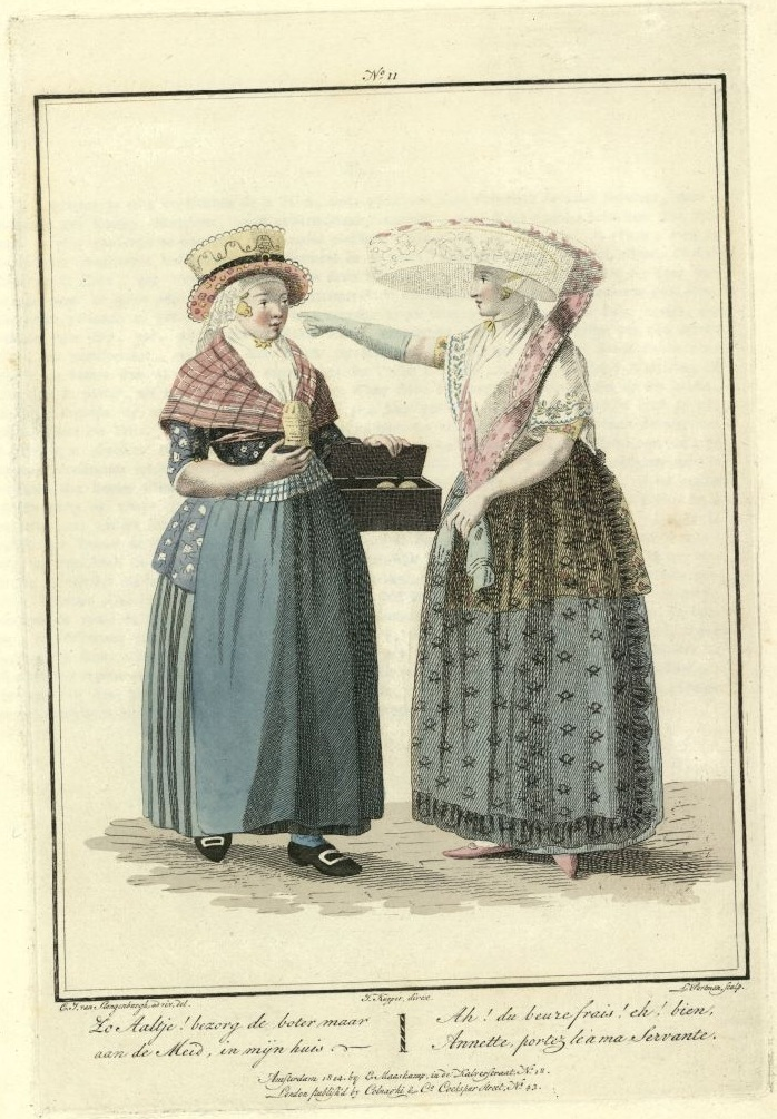 illustration of 2 Dutch women, one selling butter; the other with enormous overhanging hat gestures with outstretched arm