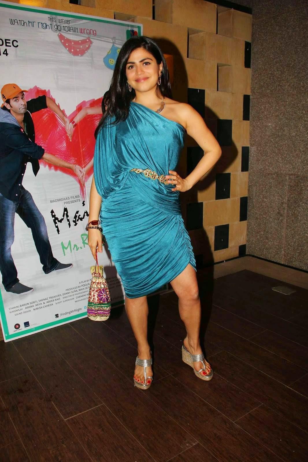 Actress Shenaz Treasurywala Latest Cute Hot Blue Dress Spicy Photoshoot Gallery At Main Aur Mr Riight Promotion