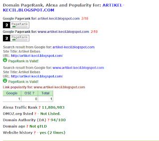 Kejutan Dari Info Kenaikan PageRank Artikel Kecil