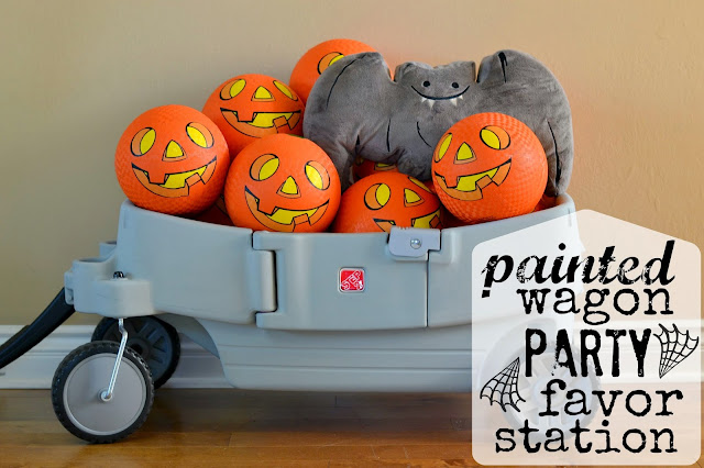 How to paint a wagon, painted Step2 wagon, Party favor station, wagon as party decor