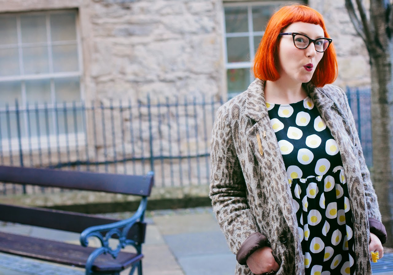 Edinburgh Blogger, Scottish Blogger, Mint and Chillies, Ginger, Red Head, cat eye glasses, The Whitepepper egg dress, leopard print, pot, pouty face, dark lips