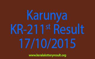 Karunya KR 211 Lottery Result 17-10-2015