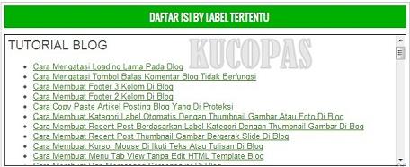 Cara Membuat Daftar Isi Label Tertentu Atau Banyak Label Di Blog