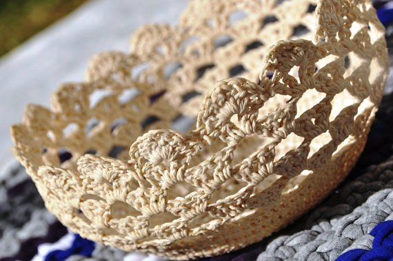 Crocheted doily basket by Srooga