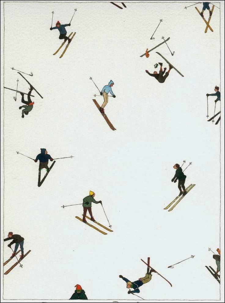 ski illustration by Yan Nascimbene