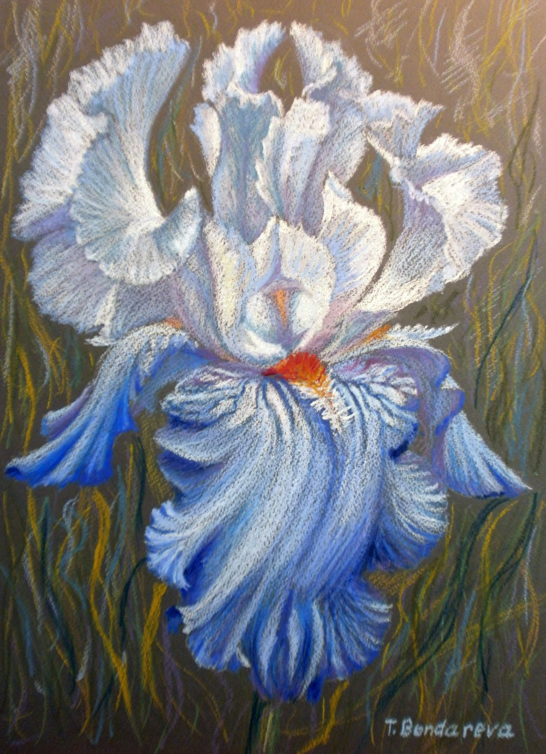 Joyful art drawing a blue iris flower using oil pastel step by drawing a blue iris flower using oil pastel step by step demonstration izmirmasajfo