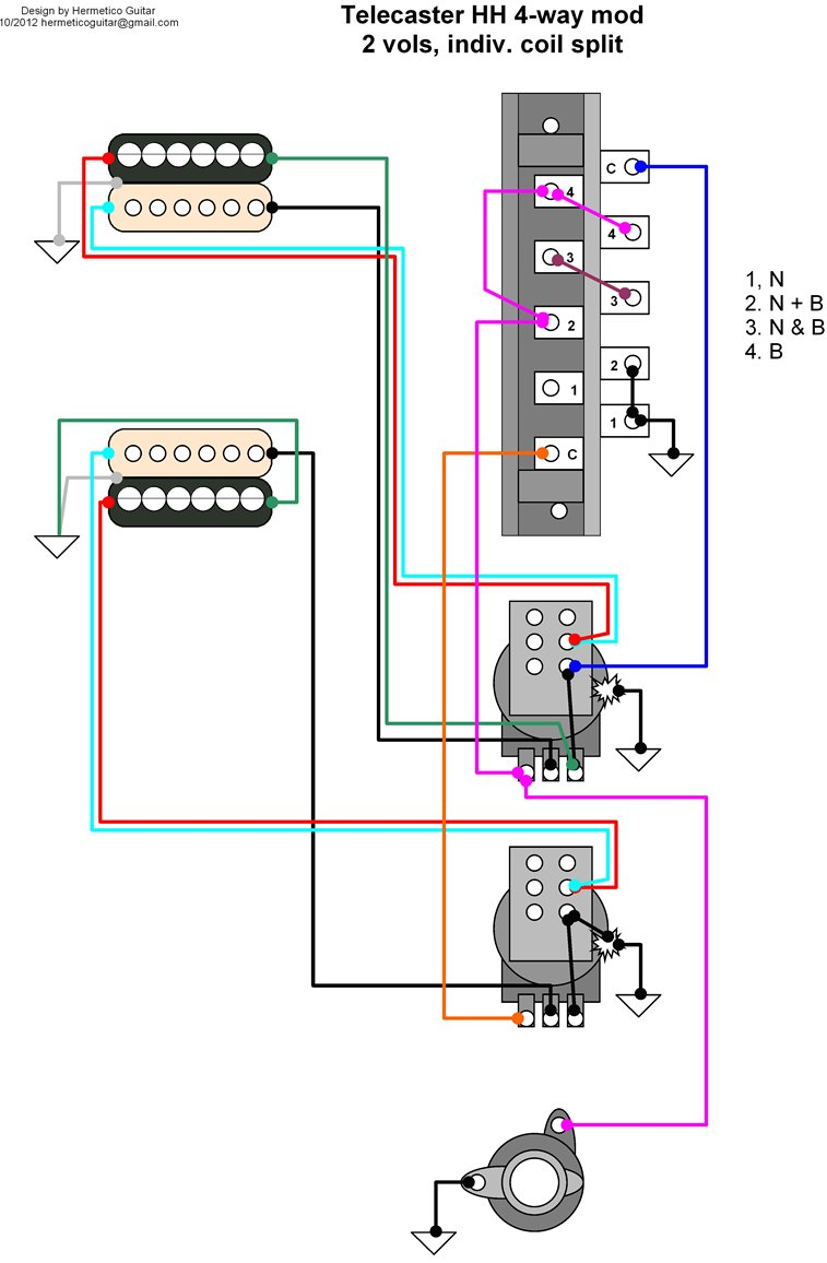 Telecaster_HH_4 way_mod_with_two_volumes_and_split hermetico guitar wiring diagram tele hh 4 way mod with Telecaster 3-Way Switch Wiring Diagram at crackthecode.co