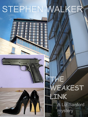 The Weakest Link by Stephen Walker, a Liz Sanford mystery, a colt 45, a pair of stilettos and St Pauls Tower on Arundel Gate Sheffield