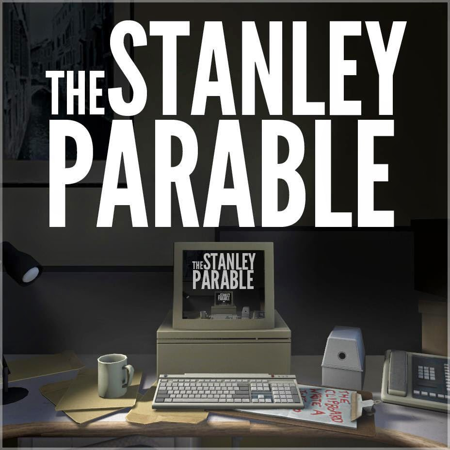 A picture of a computer with words The Stanley Parable above it, with the same picture on the computer's screen, repeating forever...