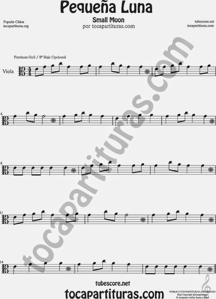Pequeña Luna Partitura de Viola Sheet Music for Viola Music Score Popular China Small Moon 方便兒童歌曲樂譜小月亮流行民歌在中國中提琴