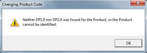 Phoenix Service Software - Neither DP1.0 nor DP2.0 was found for the Product, or the Product cannot be identified