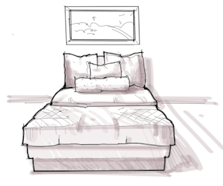 how to draw a bed from the front
