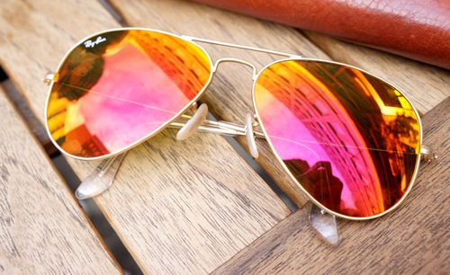 ray ban aviator miroir rose