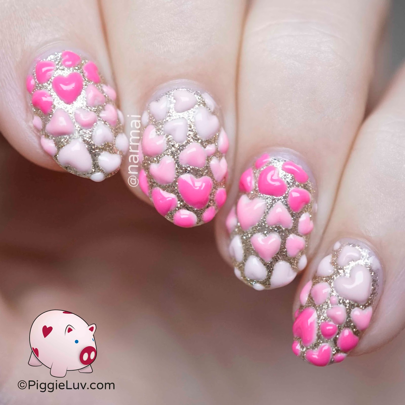 Piggieluv 3d Hearts Nail Art For Valentines Day