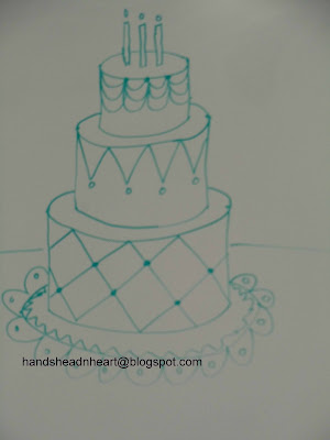 Birthday Cake Pencil Drawing