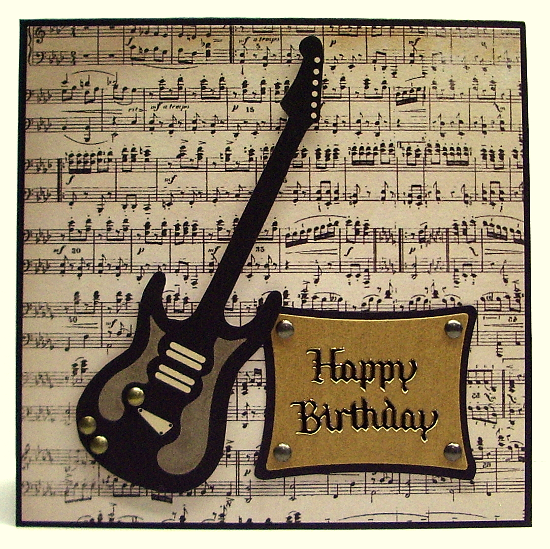 Guitar One For The Boys A Birthday Card Using An Image From Delicious Doodles That I Coloured In Microsoft Paint Suitable Man Or Teenager