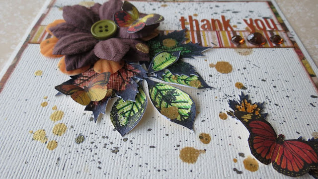 Thank You Card by Megan Gourlay using BoBunny Falling Leaves Stamps and Enchanted Forest