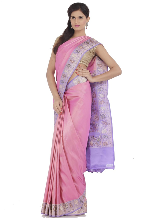 Dull Pink Satin Banarasi Saree