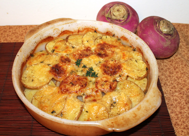 Savory Moments: Turnip and Yukon gold potato gratin
