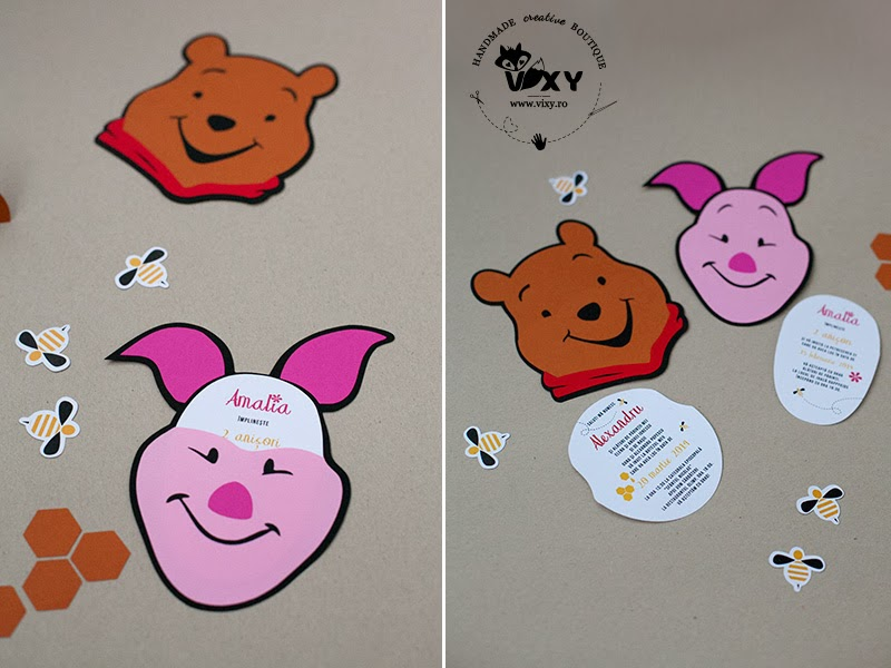 Invitatie handmade Piglet, Invitatie Winnie the Pooh, invitație piglet
