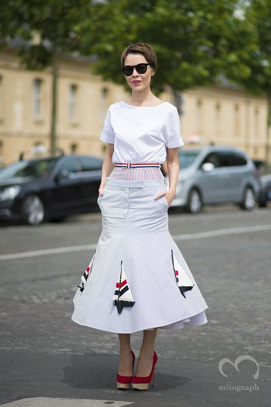 mitograph Ulyana Sergeenko wearing Thom Browne New York Before Dior Paris Haute Couture Fashion Week 2013 2014 Fall Winter PFW Street Style Shimpei Mito