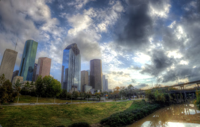 Downtown Houston, Texas HDR Stitched Panoramic as seen from the pedestrian bridge over the Buffalo Bayou