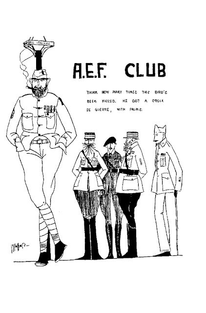 "William Faulkner, Drawing of a non-commissioned officer and four commissioned officer under the caption ""A.E.F. Club"": Ole Miss 1920-1921 vol. XXV p. 131"