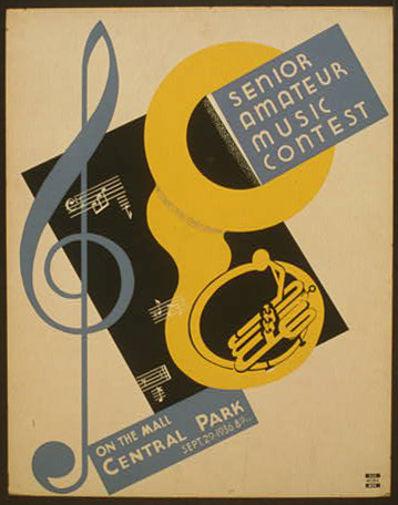 wpa, federal music project, music, federal art project, vintage, vintage posters, retro prints, classic posters, free download, graphic design, art, Senior Amateur Music Contest, Central Park - Vintage WPA Music Art Poster