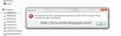 Tolak akses pengguna ke sebuah drive (hard Disk) tertentu di Windows 71