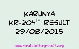Karunya KR 204 Lottery Result 29-8-2015